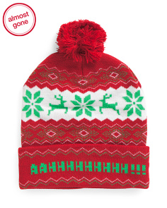 Fair Isle Pom Christmas Hat