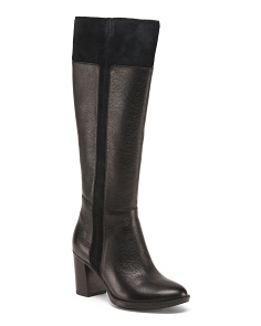 Mid Heel High Shaft Leather Boots