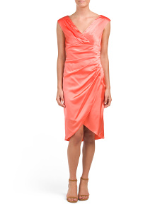 Satin Midi Dress With Tulip Skirt