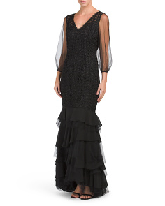 Lace Gown With Ruffle Hem
