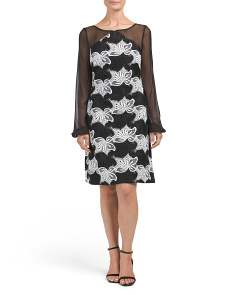 Bold Floral Lace Sheath Dress
