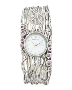 Women's Made In Israel Sterling Silver Amethyst Cubic Zirconia Watch