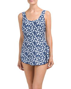 Printed Swimdress With Tummy Control
