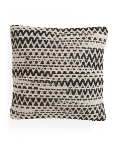 Made In India 22x22 Textured Wool Blend Pillow