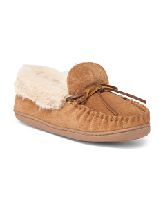 Tracy Folded Suede Trapper Slippers