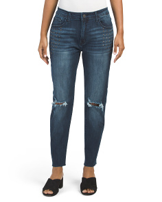 Juniors Pocket Stud Raw Hem Jeans