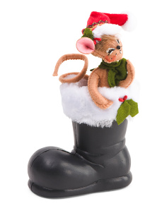 5in Mouse In Santas Boot Ornament