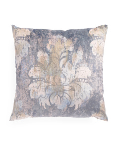 22x22 Distressed Look Damask Pillow