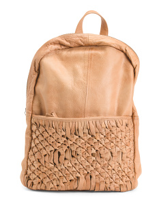 Berry Leather Backpack