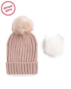 Beanie With Interchangeable Poms
