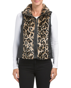 Juniors Faux Fur Leopard Vest