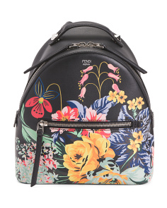 Made In Italy Floral Design Leather Backpack