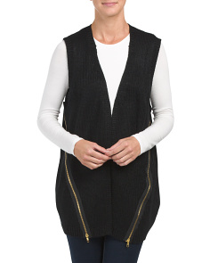 Vest With Faux Zipper Detail