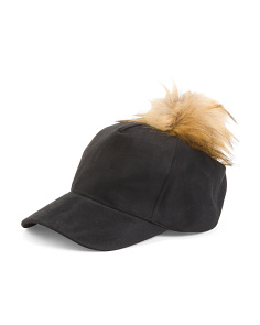 Faux Suede Baseball Hat With Pom Pom