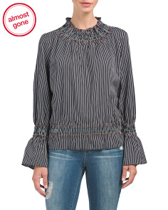 Striped Poplin Smocking Detail Top