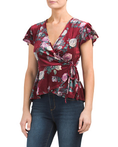 Juniors Printed Velvet Wrap Top