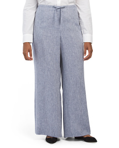 Plus Cross Dyed Linen Pants