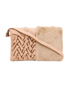 Made In Italy Clutch With Faux Fur