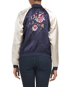 Juniors Satin Embroidered Bomber Jacket