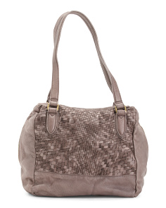 Hannah Washed Woven Leather Tote