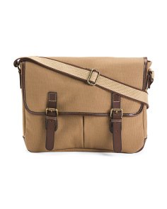 Leather Trimmed Canvas Messenger