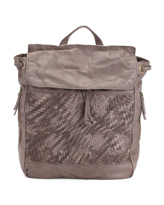 Miley Leather Washed Woven Backpack