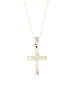 Men's Sterling Silver Cubic Zirconia Cross Necklace