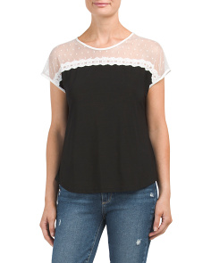Petite Mesh Swiss Dot Bow Back Tee