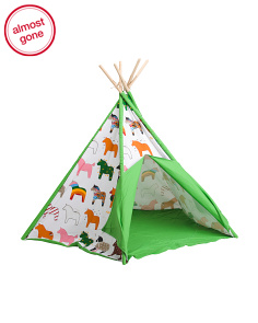 72in Horse Themed Canvas Teepee Tent