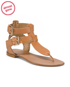 Made In Italy Leather Flat Sandals