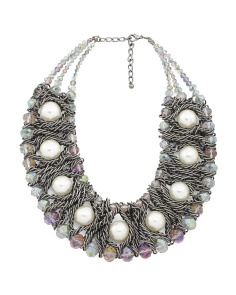 Ab Crystal Gunmetal Pearl Collar Necklace