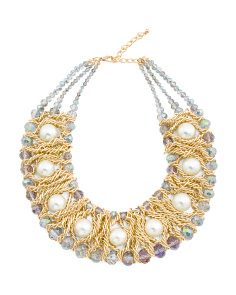AB Crystal Gold Pearl Collar Necklace