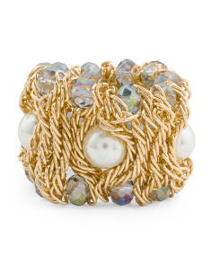 AB Crystal Gold Pearl Stretch Bracelet