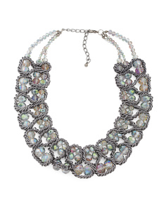 2 Row Ab Crystal Gunmetal Collar Necklace