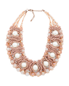 Crystal Rose Gold Pearl Collar Necklace