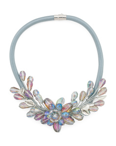 AB Crystal Spray Flower Necklace