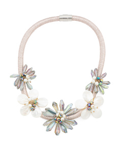 Mother Of Pearl 5 Flower Crystal Collar Necklace