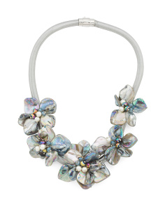 Shell 5 Flower Crystal Collar Necklace