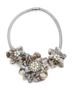 Mother Of Pearl 3 Flower Crystal Collar Necklace