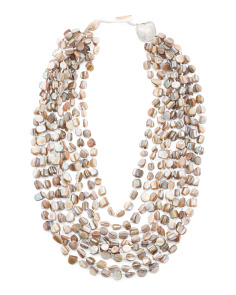 8 Row Beige Shell Pearl Necklace