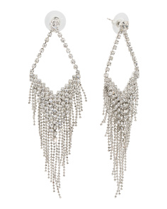 Crystal Triangle Fringe Earrings