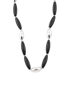 Made In Italy Sterling Silver And Onyx Bead Necklace