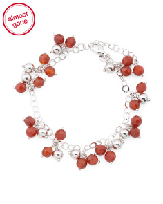 Made In Italy Sterling Silver Carnelian Rolo Bracelet
