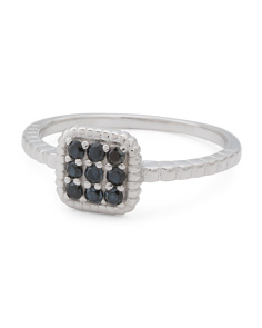 Made In Italy Sterling Silver Black Spinel Square Ring