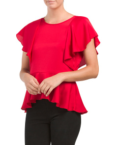 Made In USA Ruffle Peplum Top