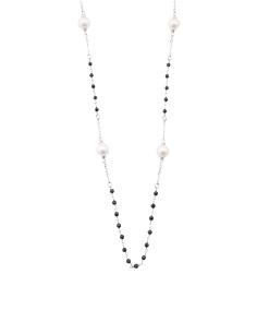 Made In Italy Sterling Silver Black Spinel Station Necklace