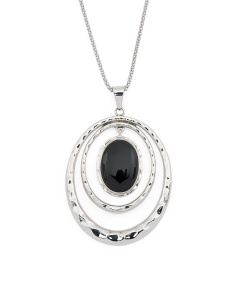 Made In Mexico Sterling Silver Onyx Hammered Oval Necklace