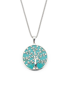 Made In Mexico Sterling Silver Stone Tree Of Life Necklace