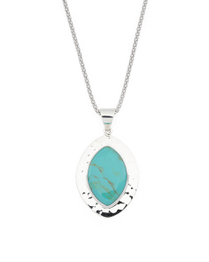 Made In Mexico Sterling Silver Turquoise Hammered Necklace