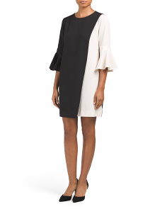 Asymmetric Color Block Shift Dress